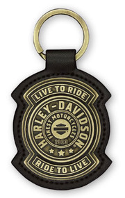Harley-Davidson® Harley Shield Antiqued Bronze & Leather Fob Keychain KY27868 - Wisconsin Harley-Davidson
