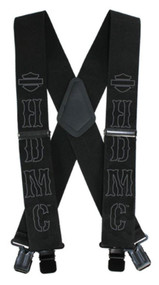 Harley-Davidson® Men's HDMC Black Suspenders, Regular Size 42 Inch SUS27673 - Wisconsin Harley-Davidson