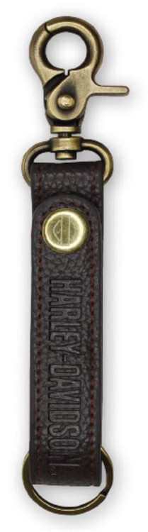 Harley-Davidson® Embossed H-D Brown Leather & Brass Accent Keychain KY51668 - Wisconsin Harley-Davidson