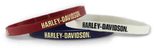 Harley-Davidson® Debossed Nostalgic H-D Silicone Wristband, 3 Pack WB28484 - Wisconsin Harley-Davidson