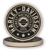 Harley-Davidson® Harley Shield Sandstone Coaster Set, Two Pack 4 inch Set CS27812 - Wisconsin Harley-Davidson