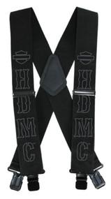 Harley-Davidson® Men's HDMC Black Suspenders, Long Size 48 Inch SUS27675 - Wisconsin Harley-Davidson