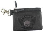 Harley-Davidson® Women's Embossed Skull Zippered Coin Pouch, Black ZWL8264-GRYBLK - Wisconsin Harley-Davidson