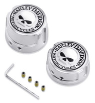 Harley-Davidson® Willie G Skull Rear Axle Nut Covers, Chrome Finish 41706-09A - Wisconsin Harley-Davidson