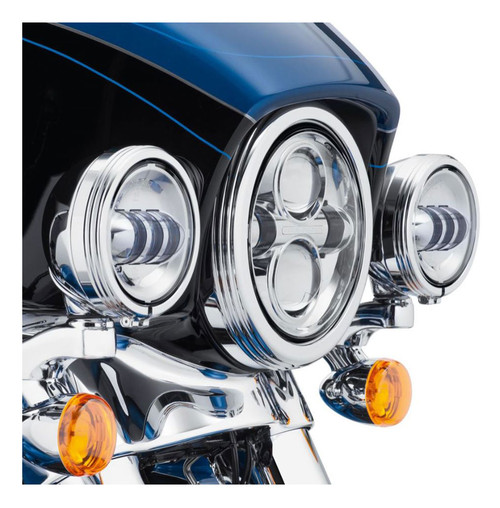 Harley-Davidson® 4in. Defiance Auxiliary Lamp Trim Rings - Chrome Finish 61400353 - Wisconsin Harley-Davidson
