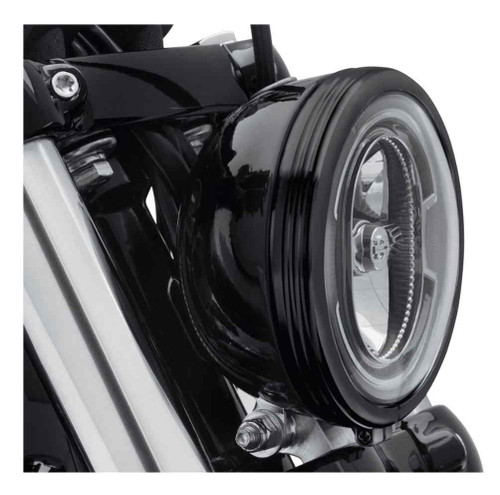 Harley-Davidson® 5.75 in. Defiance Headlamp Trim Ring - Black Anodized 61400431 - Wisconsin Harley-Davidson