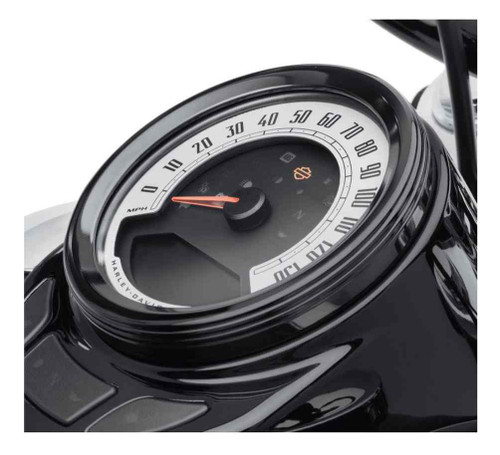Harley-Davidson® 4 in. Defiance Tank Gauge Bezel - Black Anodized 61400437 - Wisconsin Harley-Davidson