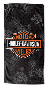 Harley-Davidson® Blueprint B&S Beach Towel, 30 x 60 inch, Black/Orange NW997196 - Wisconsin Harley-Davidson