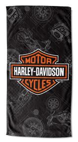 Harley-Davidson® Blueprint B&S Beach Towel, 30 x 60 inch, Black/Orange NW997196 - Wisconsin Harley-Davidson