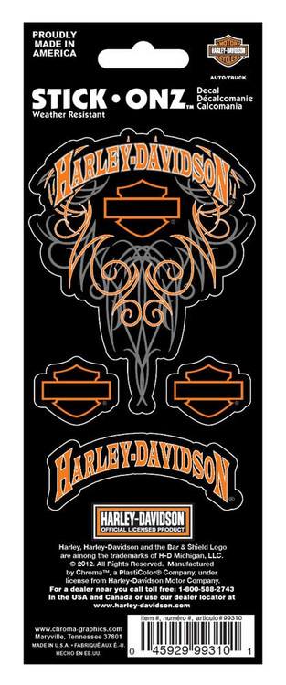 Harley-Davidson® Bar & Shield H-D 4-Piece Decal Set Stickers, Orange CG99310 - Wisconsin Harley-Davidson