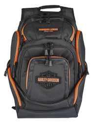 Harley-Davidson® Neon Orange Bar & Shield Deluxe Backpack, Black BP2000S-ORGBLK - Wisconsin Harley-Davidson