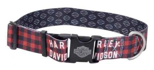 Harley-Davidson® 1.5 in. Adjustable Muscle Plaid Dog Collar - Large, Red - Wisconsin Harley-Davidson