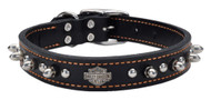 Harley-Davidson® 1 in. Adjustable Leather Spiked Collar - Black w/ Orange Thread - Wisconsin Harley-Davidson