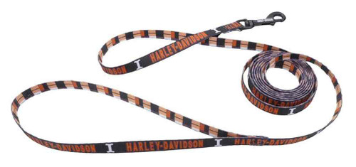 Harley-Davidson® Block Plaid H-D Dog Leash - 6 ft. Long, Black & Orange - Wisconsin Harley-Davidson