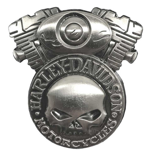 Harley-Davidson® 3D Willie G Skull & V-Twin Engine Metal Pin, Silver Color 111838 - Wisconsin Harley-Davidson