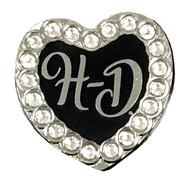 Harley-Davidson® H-D Script Heart with Rhinestones Pin, 1 x 1 Inch 289609 - Wisconsin Harley-Davidson