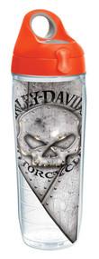 Harley-Davidson® Willie G Skull Rivets Water Bottle w/ Orange Lid, 24 oz. 1287279 - Wisconsin Harley-Davidson
