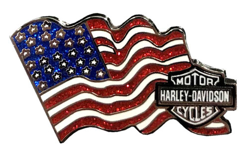 Harley-Davidson® American Flag Metal Pin with Bar & Shield, 1.75 x 1 inch 51991 - Wisconsin Harley-Davidson