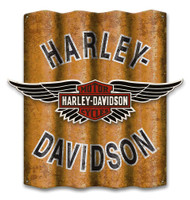 Harley-Davidson® B&S Winged Cut-Out Corrugated Aluminum Sign A25-COR-MDFCU-HARL - Wisconsin Harley-Davidson