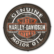 Harley-Davidson® Genuine Motor Oil B&S Wooden Barrel End Sign BE-CCGPX5-HARL - Wisconsin Harley-Davidson