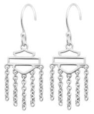 Harley-Davidson® Women's Outline Bar & Shield Drop Hook Earrings, Silver HDE0466 - Wisconsin Harley-Davidson