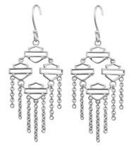 Harley-Davidson® Women's Multiple Bar & Shield Drop Hook Earrings, Silver HDE0465 - Wisconsin Harley-Davidson