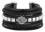 Harley-Davidson® Women's Leather Steel Bar & Shield Rope Bracelet, Black HSB0189 - Wisconsin Harley-Davidson