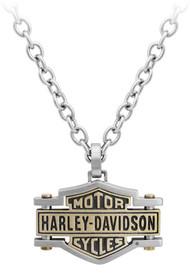 Harley-Davidson® Men's Brass & Steel Bar & Shield Chain Necklace, HSN0045-22 - Wisconsin Harley-Davidson