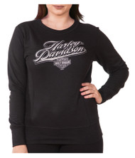 Harley-Davidson® Women's Rich H-D Long Sleeve Pullover Crew Fleece, Black - Wisconsin Harley-Davidson