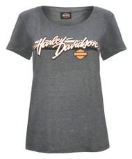 Harley-Davidson® Women's Sporty H-D Script Short Sleeve Scoop Neck Tee, Charcoal - Wisconsin Harley-Davidson