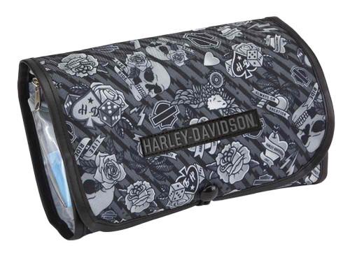 Harley-Davidson® Deluxe Hanging Gray Tattoo Toiletry Kit 98214-GRAY TATTOO - Wisconsin Harley-Davidson