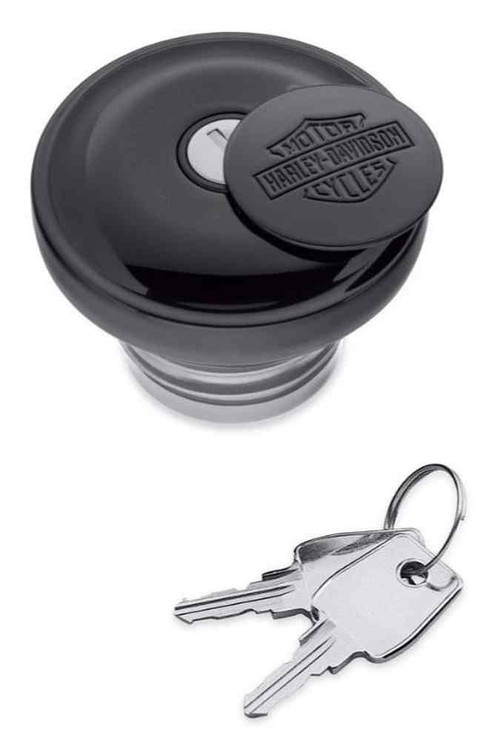 Harley-Davidson® Bar & Shield Logo Self-Locking Fuel Cap - Gloss Black 61100117 - Wisconsin Harley-Davidson