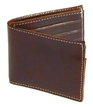 Mascorro Men's Biker Wallet Premium Slim Bi-Fold Genuine Brown Leather CP330 - Wisconsin Harley-Davidson