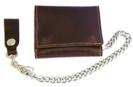 Biker Men's Premium Large Tri-Fold Leather Wallet with Chain, Brown CP315 - Wisconsin Harley-Davidson