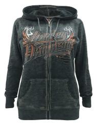 Harley-Davidson® Women's Eagle Invincible Full-Zip Burnout Fleece Hoodie, Gray - Wisconsin Harley-Davidson