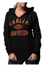 Harley-Davidson® Women's Virtually Unstoppable Split Neck Pullover Fleece Hoodie - Wisconsin Harley-Davidson