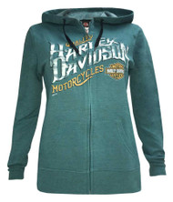 Harley-Davidson® Women's Tires of Thunder Full-Zip Fleece Hoodie w/ Contrast Trim - Wisconsin Harley-Davidson