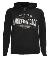 Harley-Davidson® Men's Flat Track Full-Zip Fleece Hoodie, Black 5AB1-HF0M - Wisconsin Harley-Davidson
