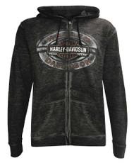 Harley-Davidson® Men's Road Wings Full-Zip Burnout Fleece Hoodie, Gray 5L0E-HF4K - Wisconsin Harley-Davidson