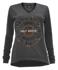 Harley-Davidson® Women's Tempted Clone Long Sleeve Hi-Low Hem Pullover, Gray - Wisconsin Harley-Davidson