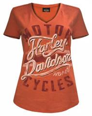 Harley-Davidson® Women's Livin in Chrome Relaxed Fit V-Neck Tee, Orange 5L0A-HF6W - Wisconsin Harley-Davidson