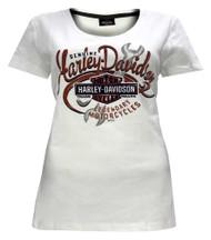 Harley-Davidson® Women's Burning Power Short Sleeve Scoop Neck Tee 5L0J-HF65 - Wisconsin Harley-Davidson