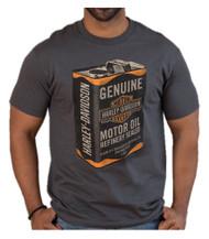 Harley-Davidson® Men's Vintage Oil Can Short Sleeve T-Shirt, Charcoal Gray - Wisconsin Harley-Davidson
