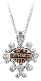 Harley-Davidson® Womens Rhinestone Filigree Bar & Shield Drop Necklace HDN0415-16 - Wisconsin Harley-Davidson