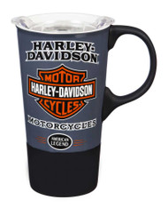 Harley-Davidson® American Legend Ceramic Travel Cup w/ Silicone Handle & Base - Wisconsin Harley-Davidson