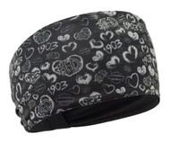 Harley-Davidson® Women's Grunge Heart Print Headband, Black & Gray HP27075 - Wisconsin Harley-Davidson