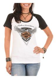 Harley-Davidson® Women's 115th Anniversary Colorblocked Aluminum Short Sleeve Tee - Wisconsin Harley-Davidson
