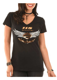 Harley-Davidson® Women's 115th Anniversary Just Believe Short Sleeve Tee, Black - Wisconsin Harley-Davidson