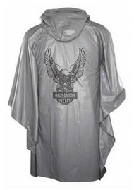 Harley-Davidson® Up-Winged Eagle Waterproof Vinyl PVC Rain Poncho, Gray RP32854 - Wisconsin Harley-Davidson