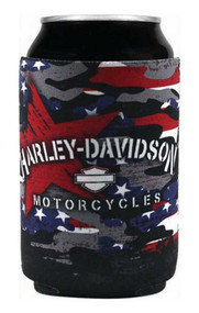 Harley-Davidson® Patriotic Grunge Neoprene Can Flat Wrap, Black CF29084 - Wisconsin Harley-Davidson